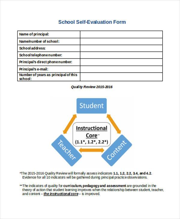School Evaluation Form Samples  Free Sample Example Format