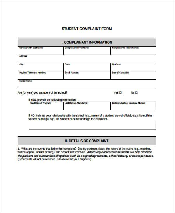 school student complaint form sample