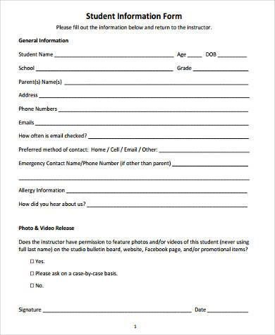 school student information form