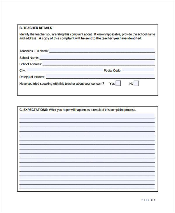 school teacher complaint form