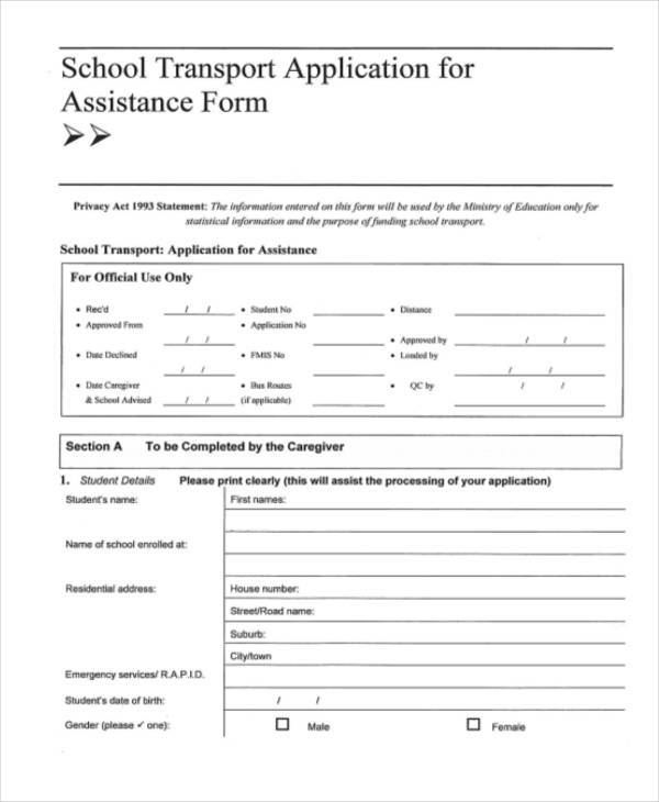 school transport assistance application form