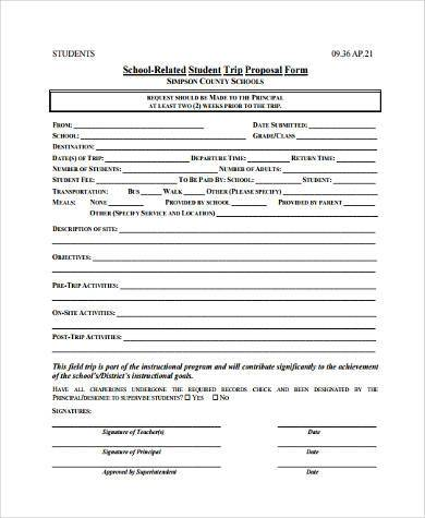 school trip proposal form