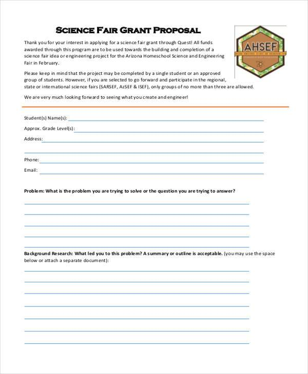 science fair grant proposal form