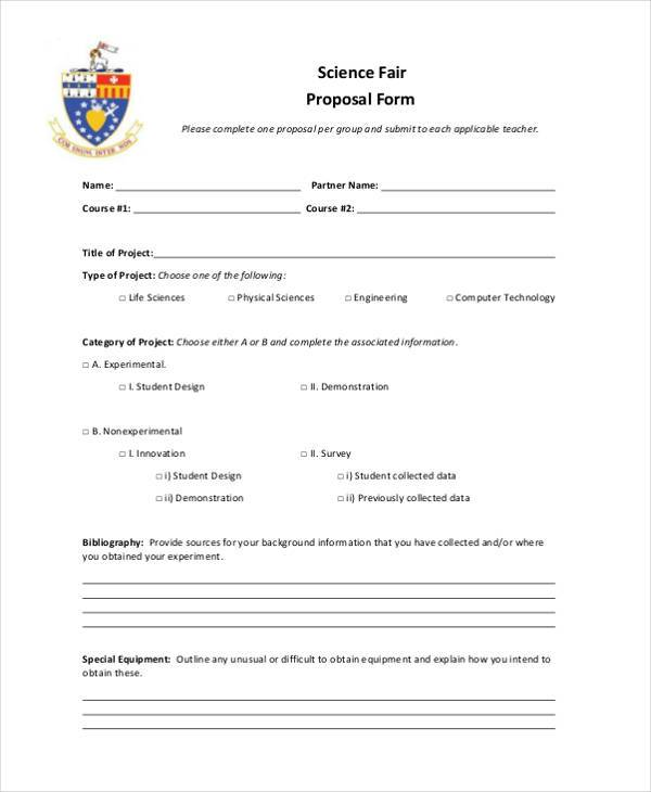 science fair proposal form format