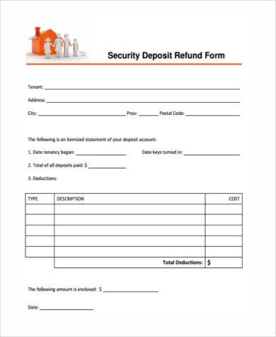Sample deposit refund forms 8 free documents in word pdf 8 sample deposit refund forms altavistaventures Images