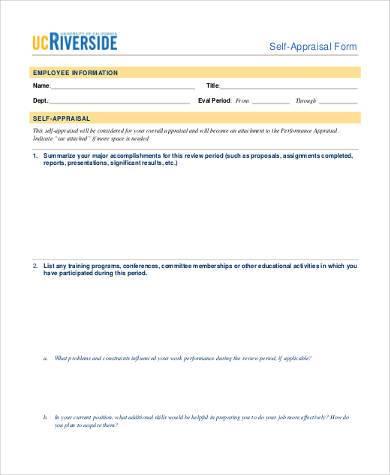 self appraisal form in pdf format