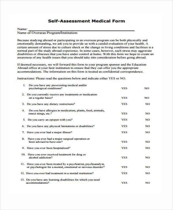 self assessment medical form
