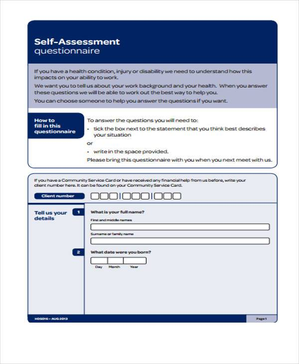 self assessment questionnaire Self-assessment for applicants for the questionnaire for national security positions established security requirements.