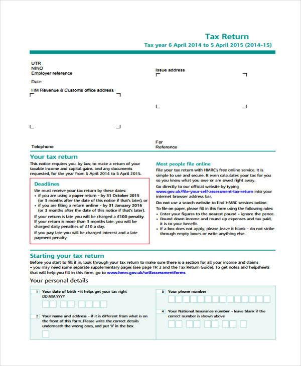 SelfAssessment Form Samples  Free Sample Example Format Download