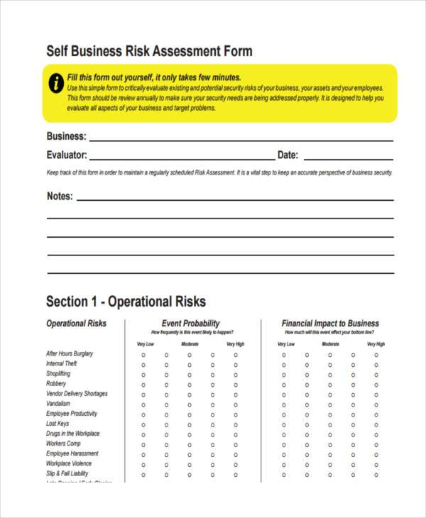 self business assessment form