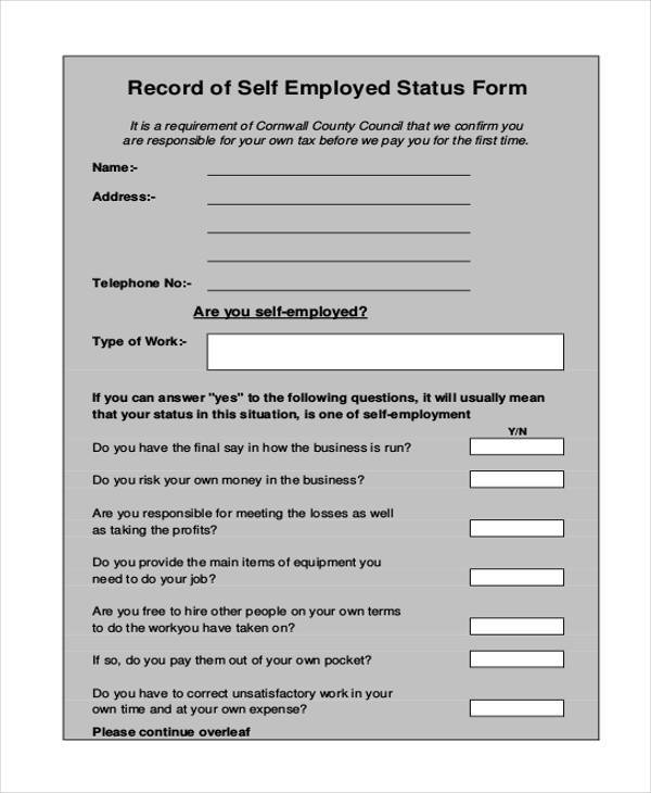 self employment status form