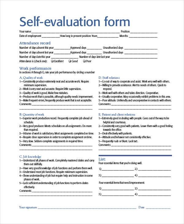 SelfEvaluation Sample Forms  Free Sample Example Format Download