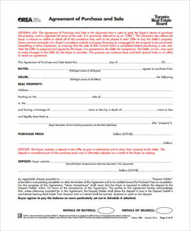 selling house agreement form example