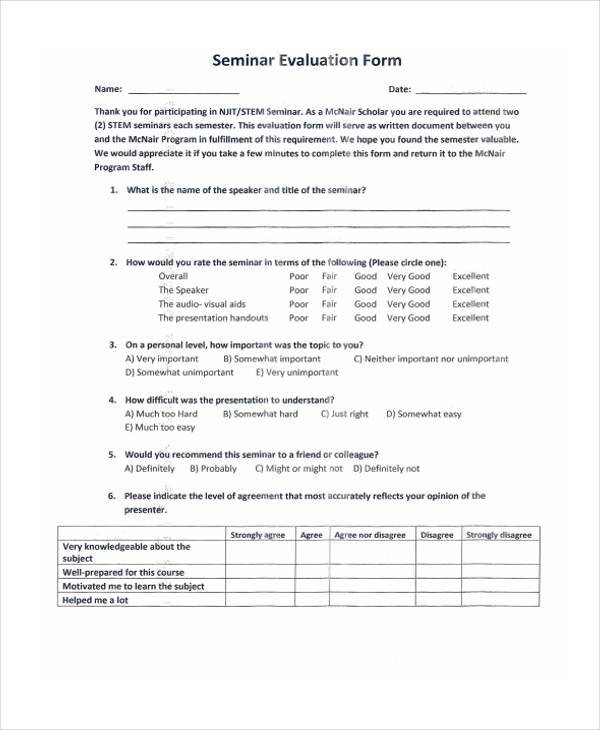 7+ Seminar Evaluation Form Samples - Free Sample, Example Format