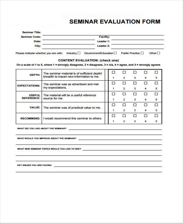 Seminar Evaluation Form Samples  Free Sample Example Format