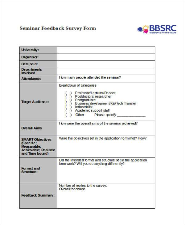 seminar feedback survey form