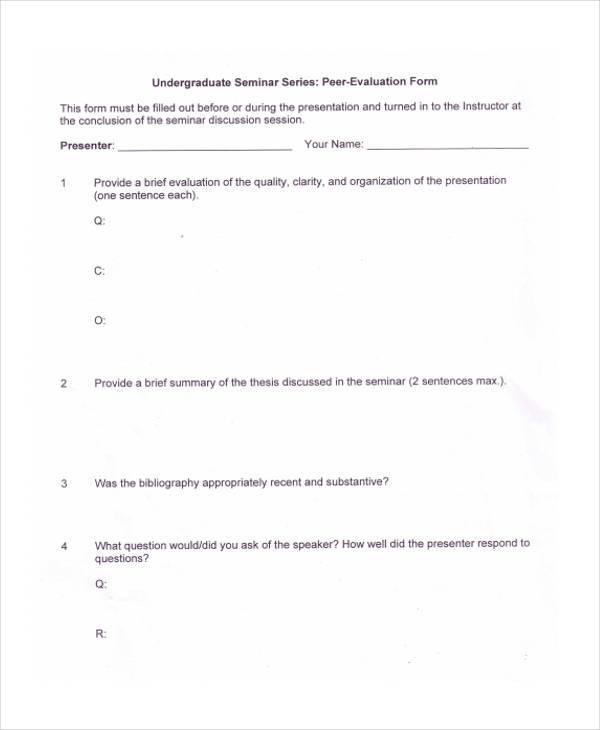 seminar peer evaluation form