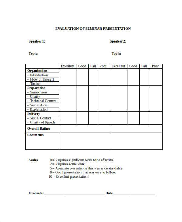 Evaluation Forms in Word – Seminar Evaluation Form