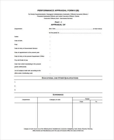 senior executive performance appraisal form