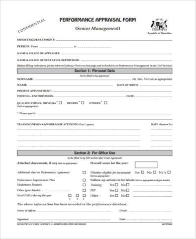 senior management appraisal form
