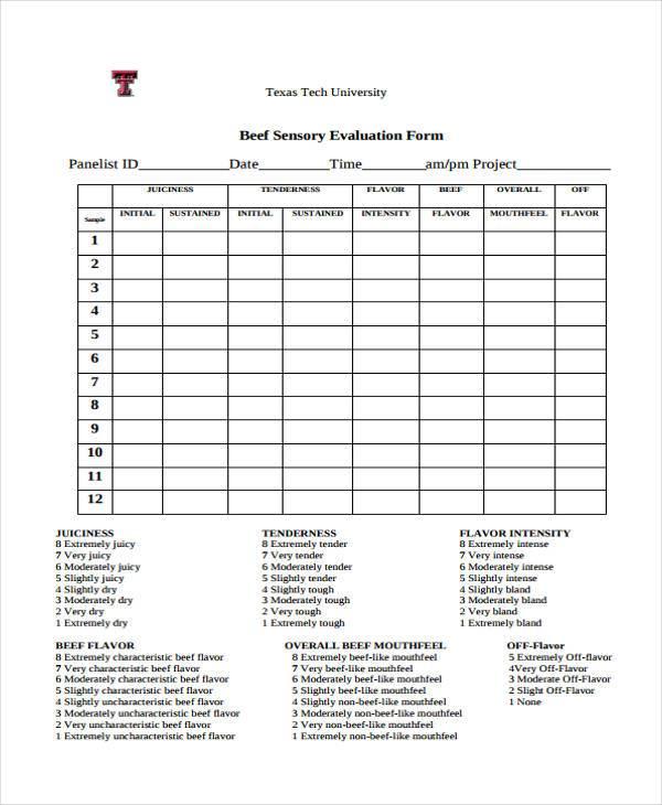 sensory evaluation form in pdf