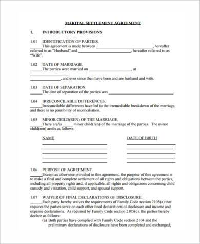 Separation agreement sample forms 8 free documents in word pdf marital settlement agreement form platinumwayz