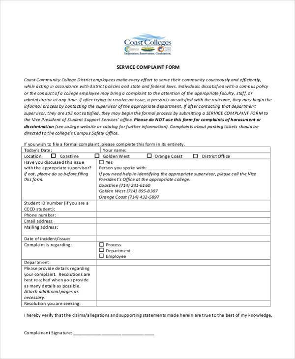 service complaint form in pdf