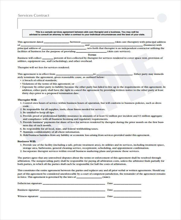 Sample Service Contract Agreement Forms