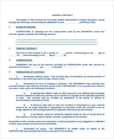 service contract agreement form