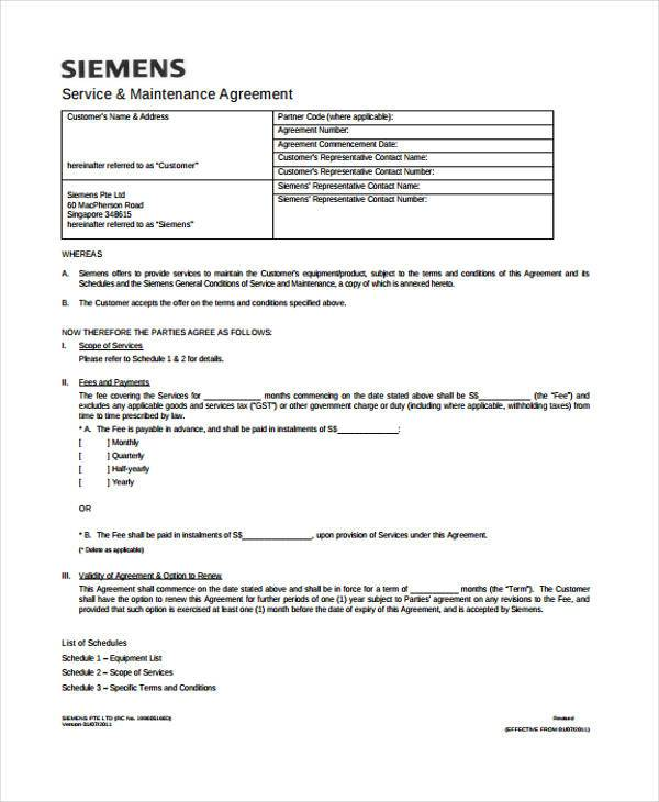 service maintenance contract agreement form
