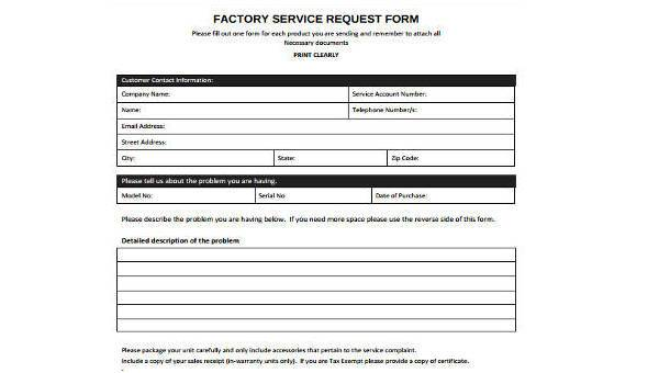 Free 8 Service Request Form Samples In Pdf Ms Word
