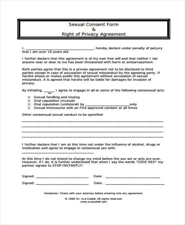 sexual harassment consent form