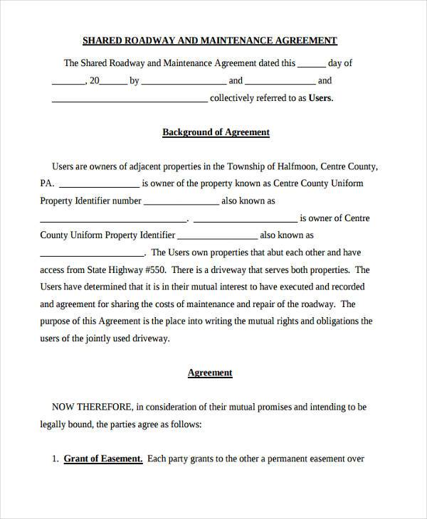 shared road maintenance agreement form