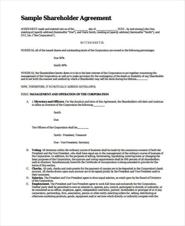 8 shareholder agreement form samples free sample for Shareholder buyout agreement template