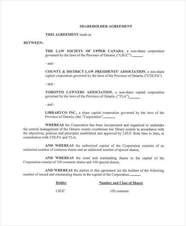 shareholder agreement form