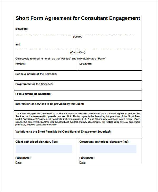 short consulting agreement form sample