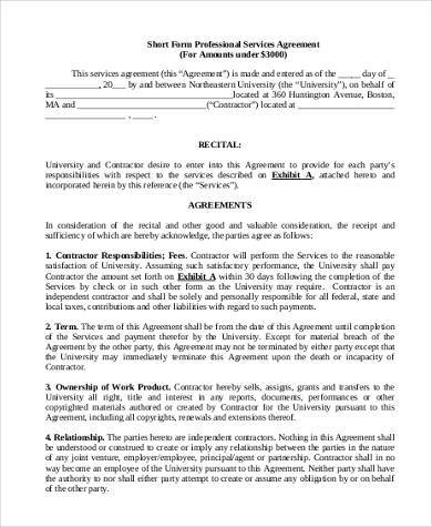 short form professional services agreement form