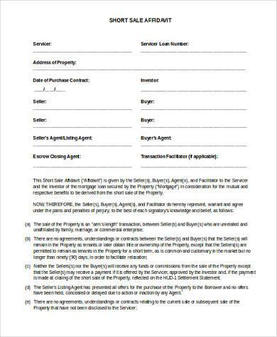 Short Sale Affidavit Form Doc  Affidavit Template Doc