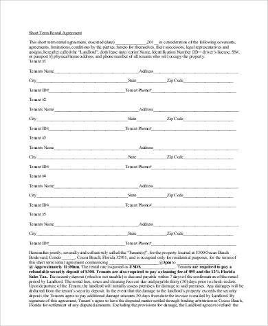 short term equipment rental agreement form