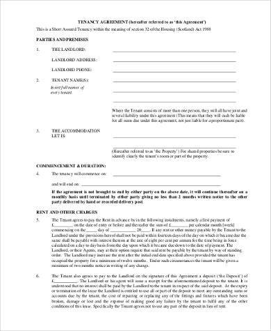 short term tenancy agreement form