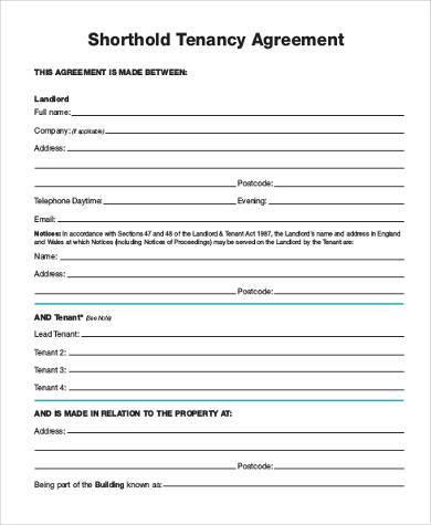 shorthold tenancy agreement form