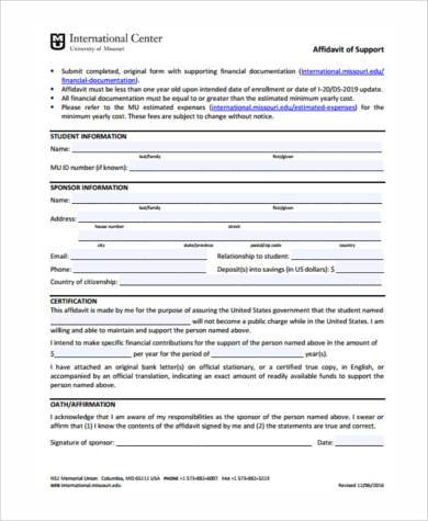 simple affidavit of support form