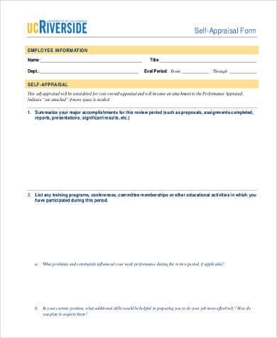 simple annual self appraisal form