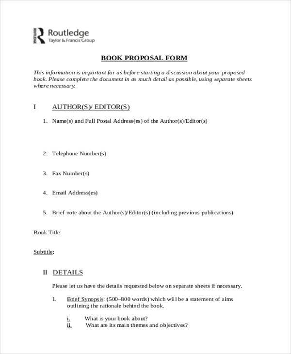 simple book proposal form