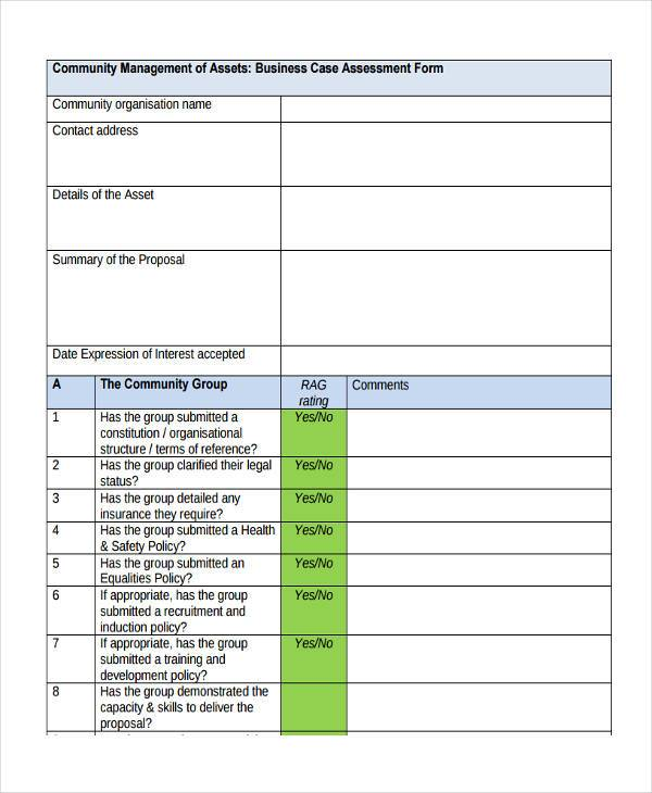 simple business assessment form
