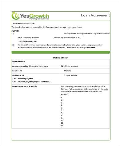 simple business loan agreement form