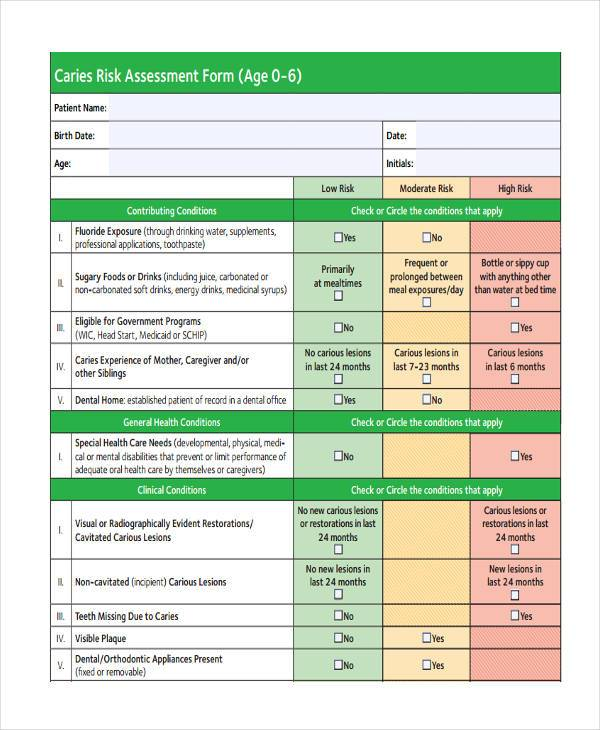 simple caries risk assessment form