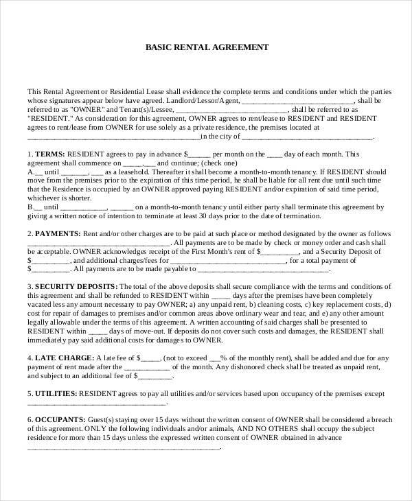 7 Commercial Rental Agreement Form Samples Free Sample Example – Residential Rent Agreement Format