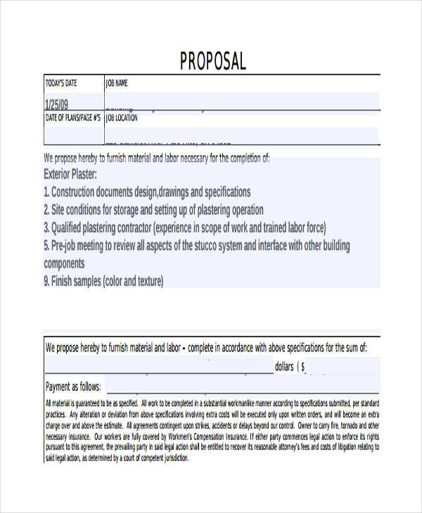 simple construction proposal form