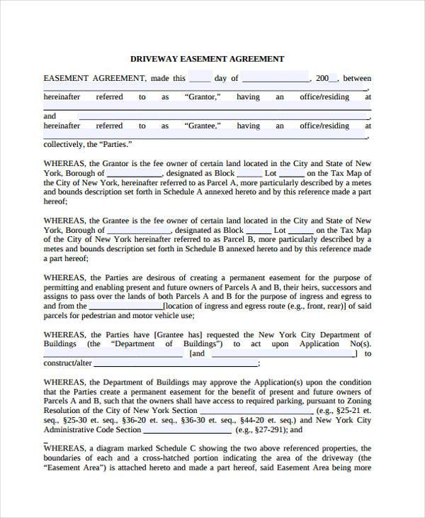 Sample Driveway Easement Agreement Forms - 7+ Free Documents in ...